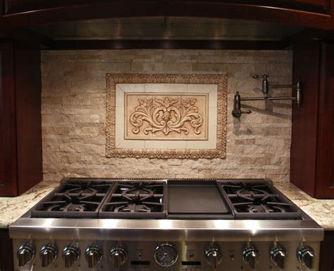 vintage kitchen tile backsplash medallions for backsplash our floral tile and thin liners in antique brown along with flat