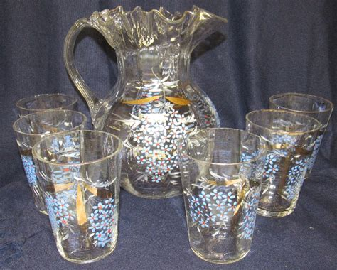 antique lemonade set pitcher 6 glasses floral enam