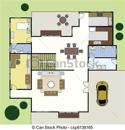 clipart vector of floorplan architecture plan house