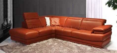 Orange Sectional Sofa Modern Leather Sectional Sofa 605 Orange