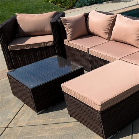 wicker sectional sofa with chaise 6pc outdoor patio furniture sectional rattan wicker sofa