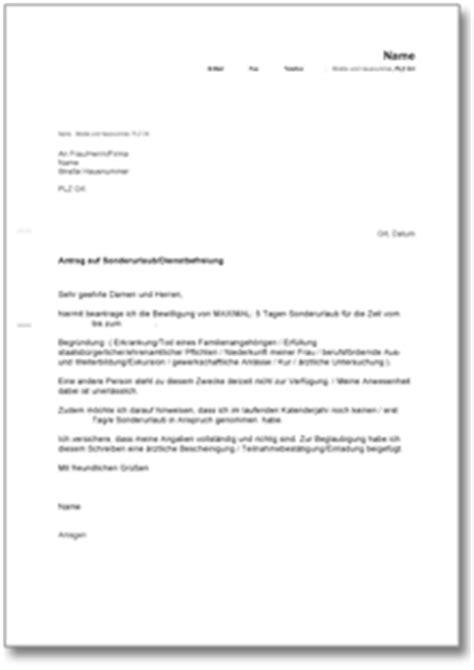 Vorlage Antrag Auf Unbezahlten Urlaub Antrag Auf Sonderurlaub Dienstbefreiung De Vorlage