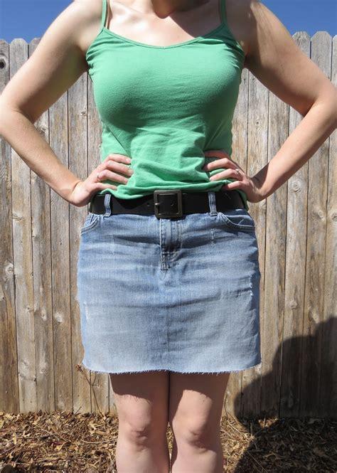 denim mini skirt refashion   recycle  pair