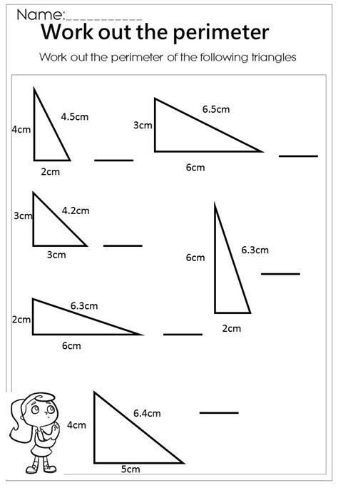 printable worksheets perimeter work out the triangle perimeter worksheet mathematics