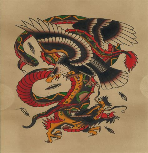 oriental eagle tattoo old school asian dragon fighting with snake and eagle