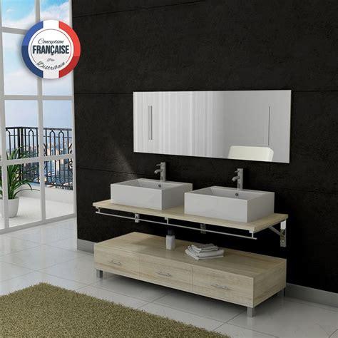 meuble salle de bain vasque dis985 teinte bois clair