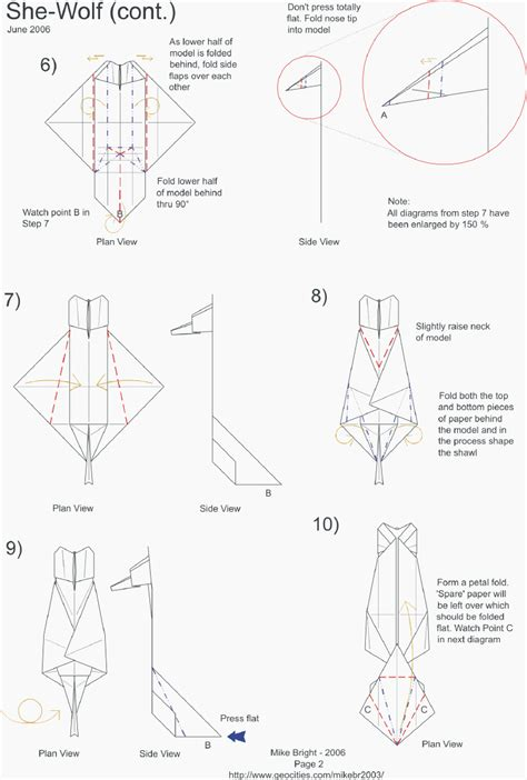 Origami Wolf Diagram - pin origami wolf step pictures on