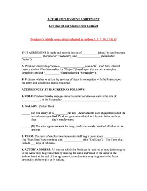 Employment Agreement Forms And Templates Fillable Printable Sles For Pdf Word Pdffiller Actor Contract Template