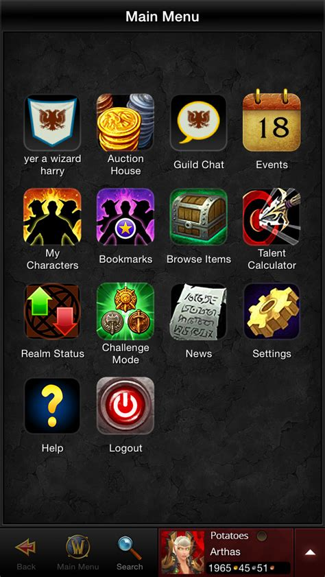 wow mobile app world of warcraft mobile armory by blizzard entertainment