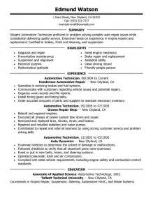 Automotive Resume Exles by Automotive Technician Resume Exles Automotive Resume Sles Livecareer