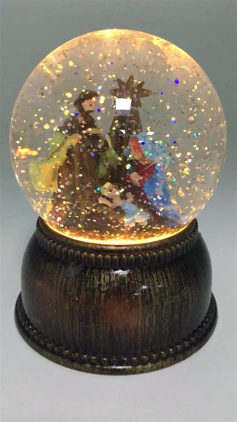 christmas led electric snow globe resin red bird water