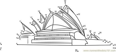 coloring page of sydney opera house sydney opera house australia dot to dot printable