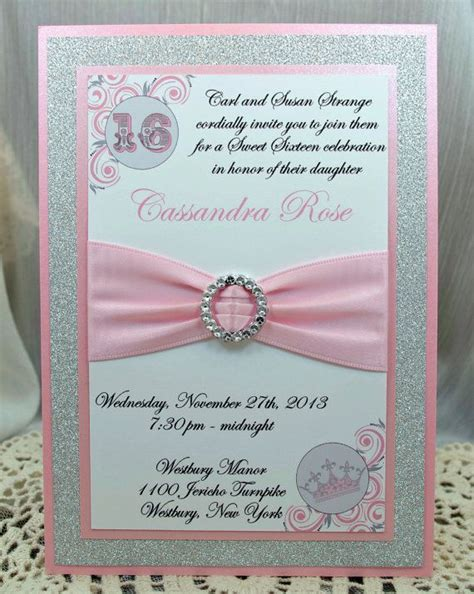 Handmade Sweet 16 Invitations - pink and grey quinceanera or sweet 16 invitations by