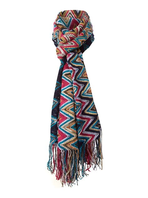 zig zag shawl pattern missoni zig zag pattern scarf in multicolor blue lyst