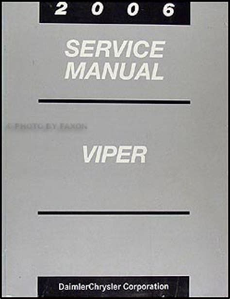 free car repair manuals 2006 dodge viper on board diagnostic system 2006 dodge viper repair shop manual original