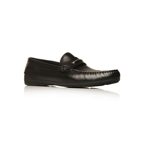 black leather slip on shoes hugo monsero leather slip on shoe in black for lyst