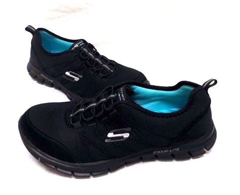 black athletic shoes skechers s glider electricity slip on athletic