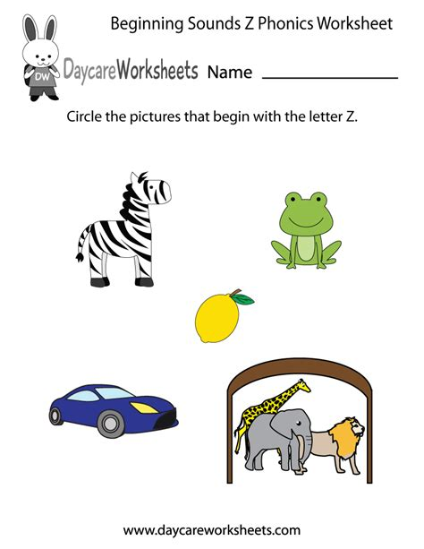 colors that start with x free beginning sounds letter z phonics worksheet for preschool