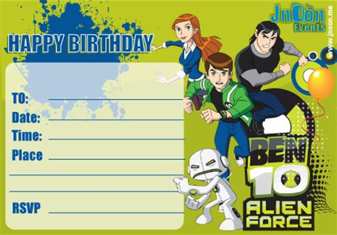 ben 10 birthday invitation cards templates gallery