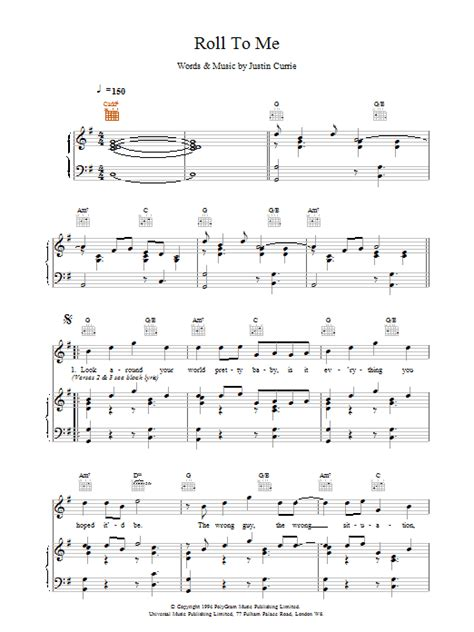 roll with me del amitri del amitri roll to me sheet music at stanton s sheet music