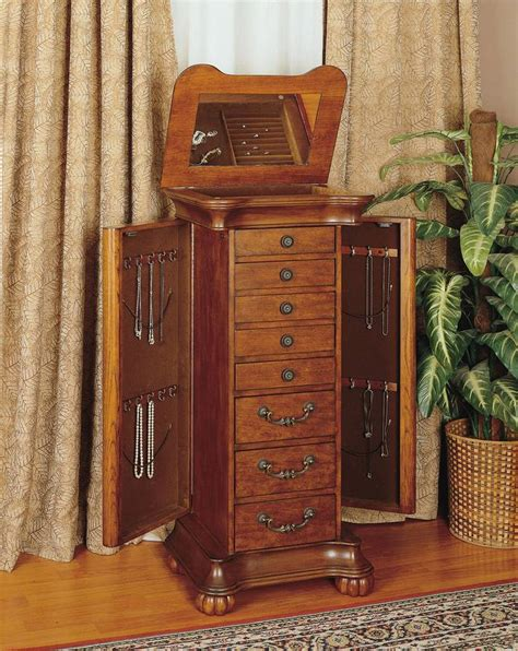jewlry armoire powell wilmington cherry and burl jewelry armoire pw 519