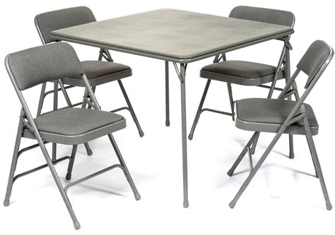 Folding Card Table And Chairs 5pc Xl Series Folding Card Table And Fabric Padded Chair Set Grey Foldingchairsandtables