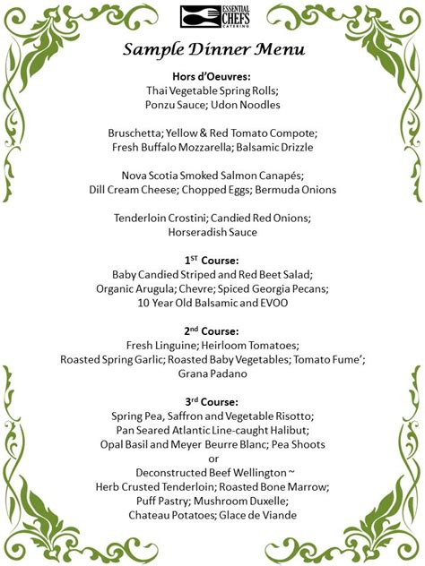 formal dinner menu ideas plated dinner essential chefs catering