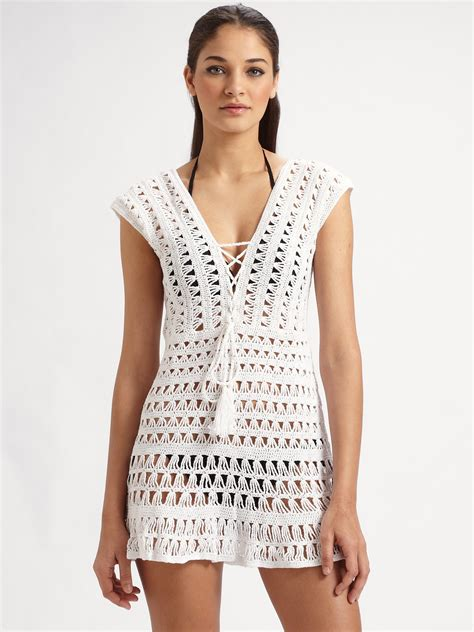 Crochet Cover Up kosturova marissa crocheted coverup in white lyst