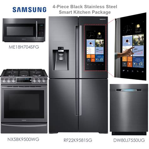 samsung kitchen appliance package discount package samsung 4 piece black stainless steel