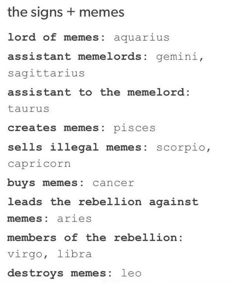 Zodiac Meme - zodiac memes tumblr google search zodiac