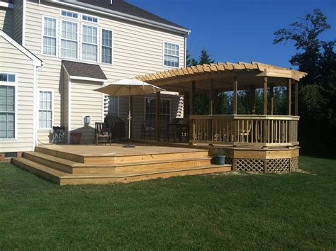 Hand Made Huge Custom Deck And Pergola By Rva Renovation Custom Made Pergola