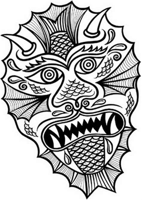 monster mask coloring page chinese dragon head coloring sheet colorings net
