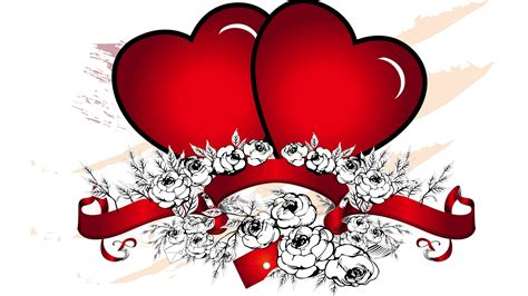 beautiful  red heart vector design hd laptop background