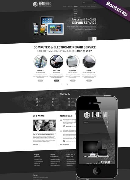personal computer repair service website template html