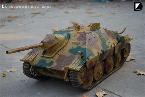 hetzer tri color ambush scheme dz model  scale vehicle