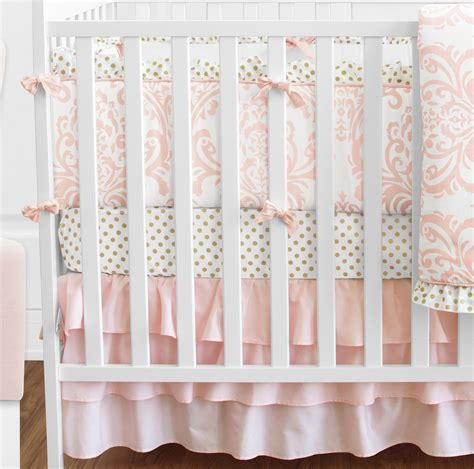 Blush Baby Bedding by Sweet Jojo Blush Pink White Damask Gold Dot Crib Baby
