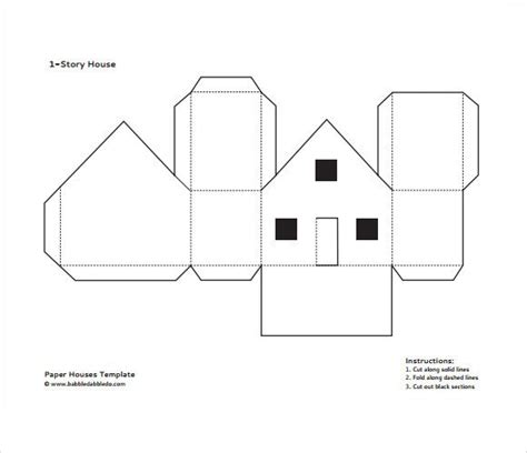 template for printing a card on 10x7 paper paper house template pdf popup cards house