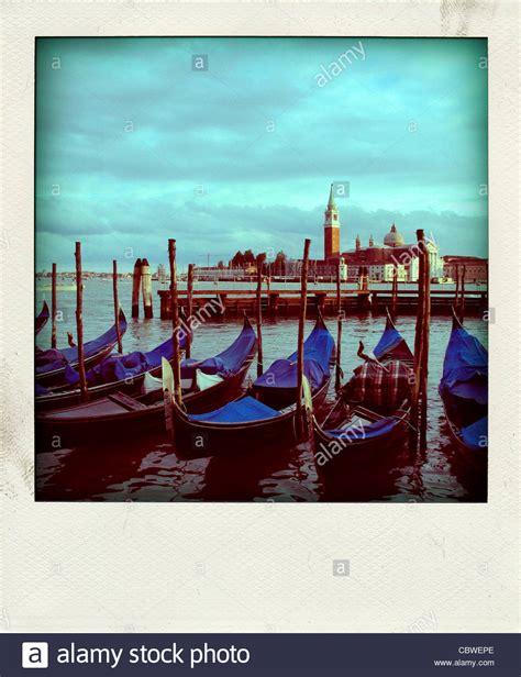 vintage polaroid vintage polaroid of gondolas in venice italy europe
