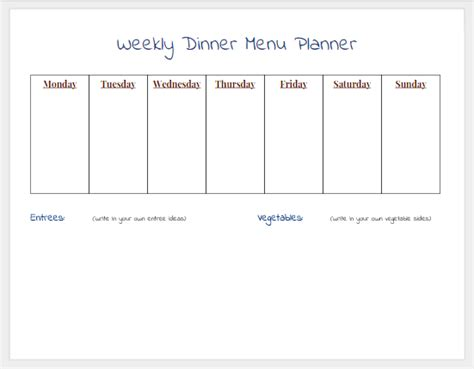 printable blank dinner menu planner search results for blank weekly dinner menu calendar 2015