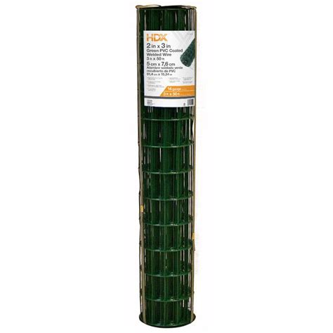 hdx 3 ft x 50 ft 14 green pvc coated welded wire