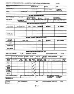 Welding Inspection Report Template by Welding Inprocess Nondestructive Test Inspection