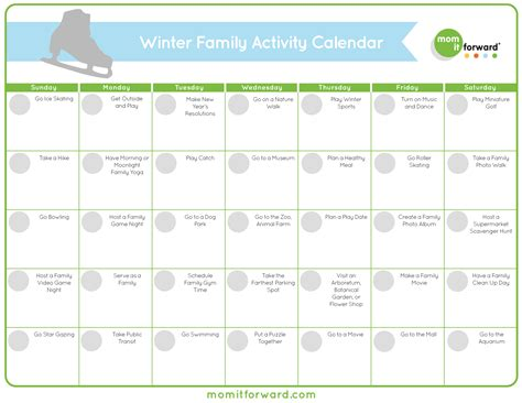 free activity calendar template free printable winter family activity calendar it
