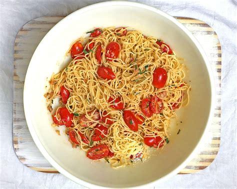 pasta capellini pasta salad with tomatoes basil garlic parmesan cheese