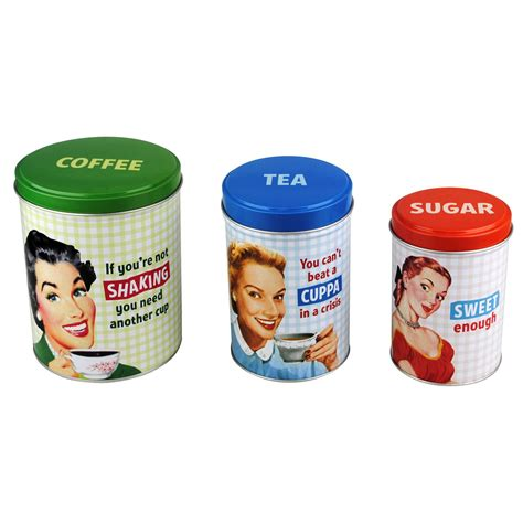 new tea coffee sugar canisters jar retro kitchen humour ebay
