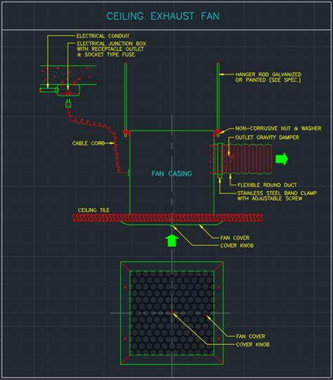 ceiling exhaust fan free cad blocks and cad drawing