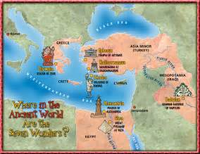 Map Of Ancient World by The Seven Wonders Of The Ancient World Map Dogfoose Com
