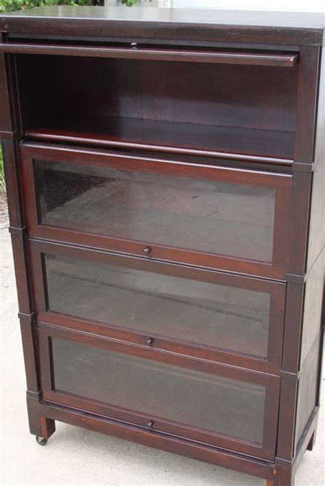 Barrister Bookcase 4 Stack Vintage Antique Cabinet With Vintage Bookcase With Glass Doors