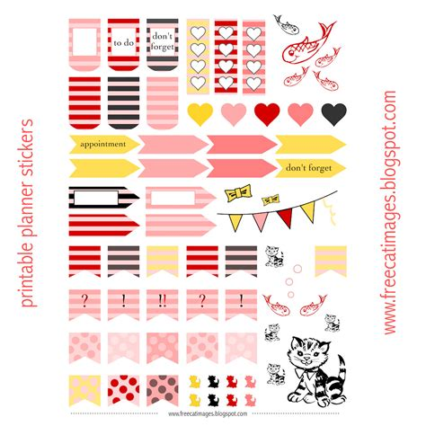 printable planner sticker template free cat images free printable planner stickers cats