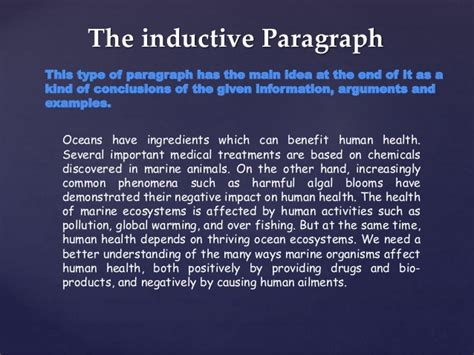 inductive pattern paragraph exles types of paragraph