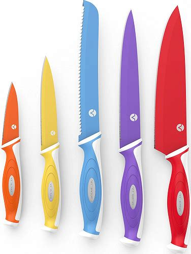 Colorful Kitchen Knives Professional 10 Chef Knife Set 5 Colorful Kitchen Knives With Protective Blade Covers